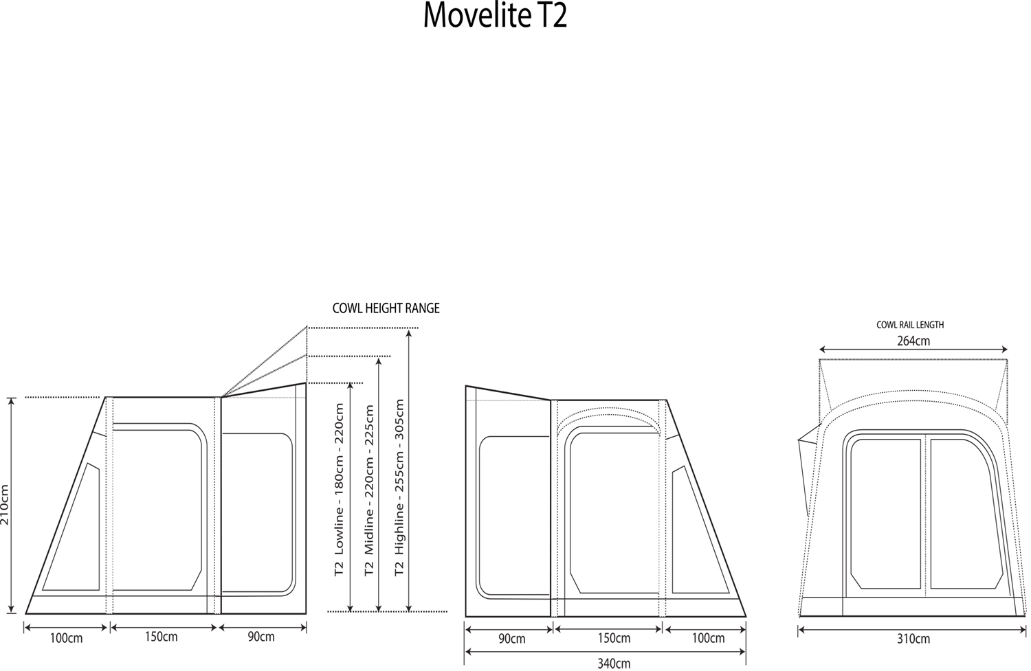 Movelite T2 Small Double Rip Stop Weekender Vw Camper Awning