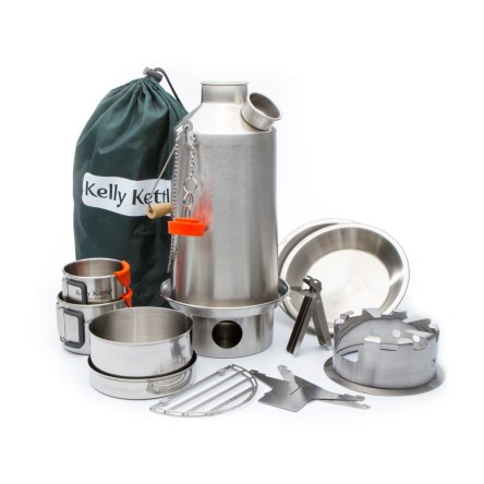Kelly Kettle® Base Camp kempingfőző Ultimate Kit – rozsdamentes acél, 1,6 L