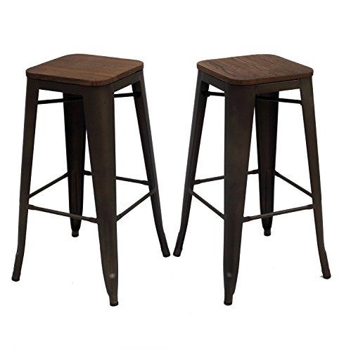 Purenity Matte Metal Industrial Wood Top Counter Stool Vintage Metal Design  Indoor/Outdoor Set Of
