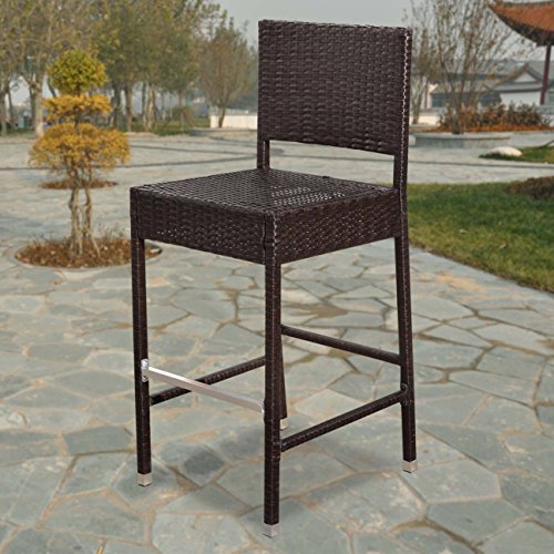 Strong Camel Dark Coffee Wicker Barstool Indoor Outdoor Patio Furniture All  Weather Bar Stool