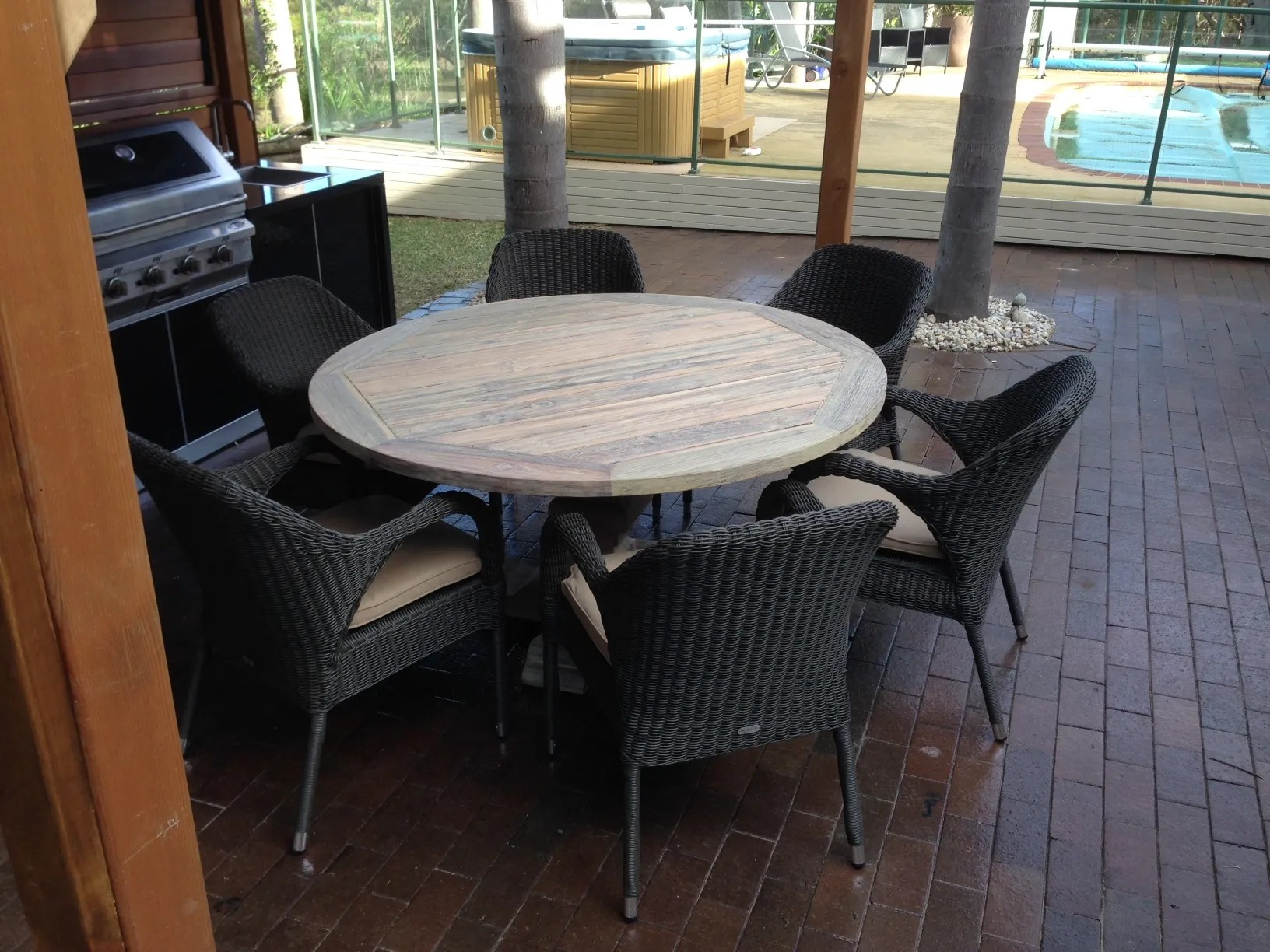 large round patio table and chairs bedroom chair sale greywash teak