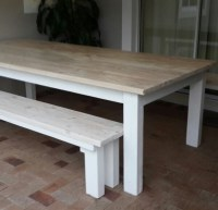 Pine patio/dining table and benches in whitewash and white ...