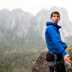 Alex belaying, and generally being a goofball, in Yosemite. Photo: Ted Hesser