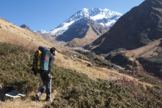 Hiking and looking like I'm limping, which I am - four days hiking into a remote valley of the Indian Himalaya, photo by Anant Raina, The Outdoor Journal.