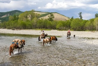 Sabine crosses a river along with Stinky, the resident guard dog, who followed the horses and was very much a part of the team.