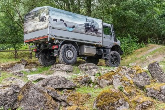 "The Unimog (or ""Mog"", as its aficionados call it) is a compact, highly maneuverable, all-wheel drive, off-road truck. Its all-wheel drive, flexible frame/suspension and very high ground clearance (portal gears allow the axles to be higher than the centre of the wheel) – allow the truck to be driven over meter-tall boulders, over ice, through deserts and forests (literally over tree trunks), swamps and rivers. Photo: Apoorva Prasad/ The Outdoor Journal"