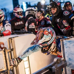 Tristan Dugerdil of France is seen during a training session at the fourth stage of the ATSX Ice Cross Downhill World Championship at the Red Bull Crashed Ice in Ottawa, Canada on March 02, 2017.