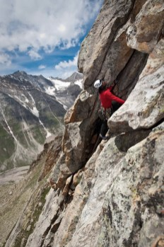 Vaibhav on Pitch 14 on Torro Peak, a great rock route in the valley