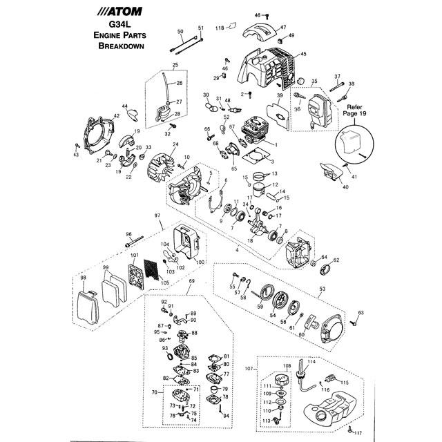 Atom 202, 203, 204, 205, 601 & 650 Edger Engine Parts List
