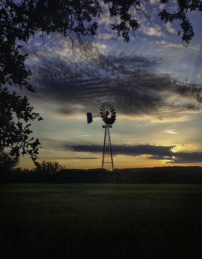 Windmill at sunrise, Southlake, Texas