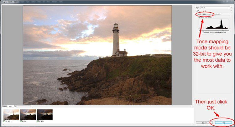Photoshop HDR - preprocessing dialogue box