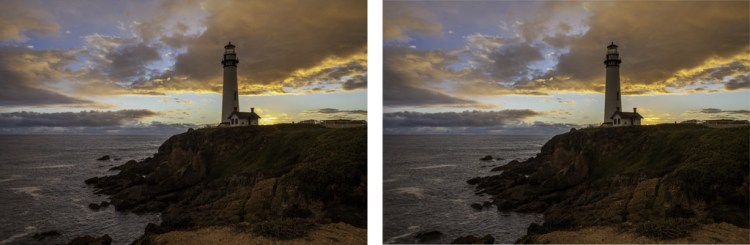 Lightroom HDR - comparison of two photos, one created using Lightroom HDR and one using the Lightroom Develop module