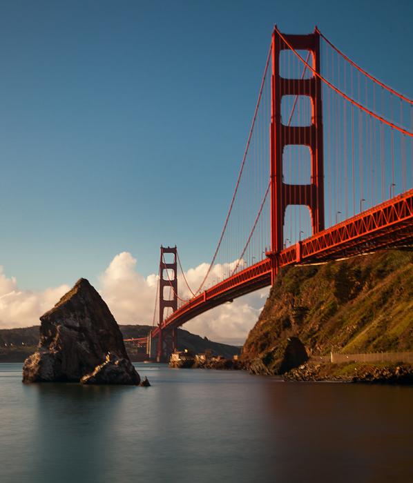 Shot of the Golden Gate Bridge from the Sausalito side of the bridge, near Fort Baker