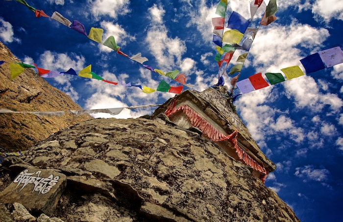 Tibetan prayer flags on stupa. Asia, Himalayas, Nepal, Nepal & Mt. Everest Photo Workshop, Mong