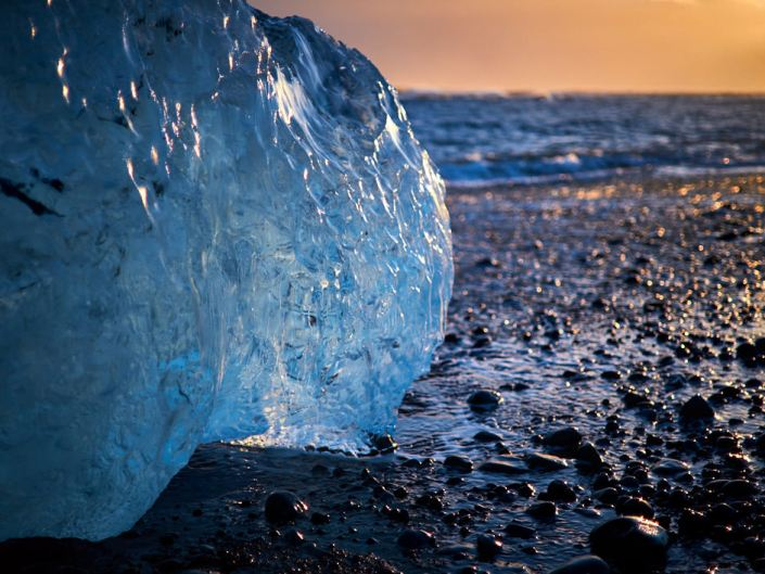 Jökulsárlón, Iceland, close-up of ice