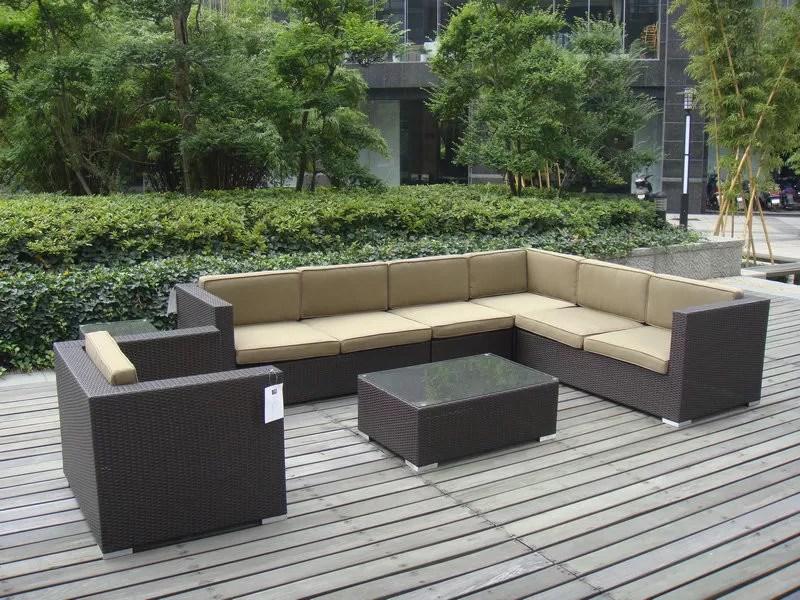 9pcs garden cane furniture all weather wicker patio furniture