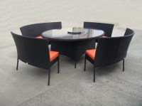 Rattan Garden Dining Sets With Bench , Patio Table And