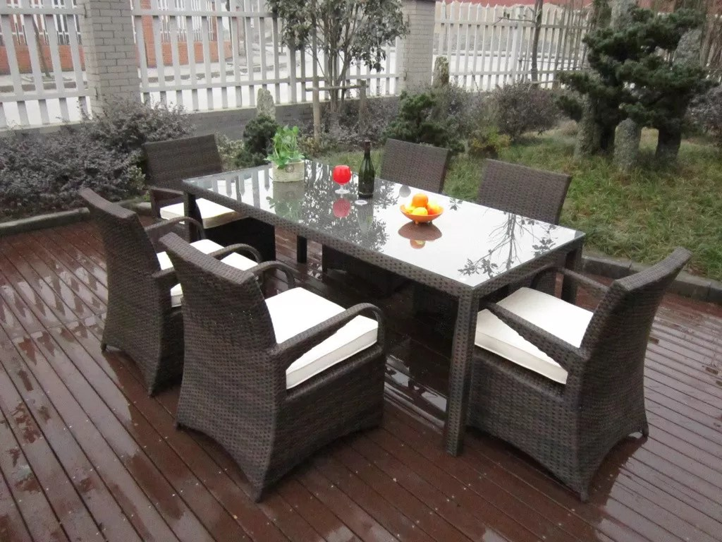 Rattan Garden Dining Sets , Washable Resin Wicker Patio