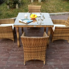 Woven Plastic Garden Chairs Lowes Black Outdoor Rocking Chair All Weather Rattan Dining Sets With
