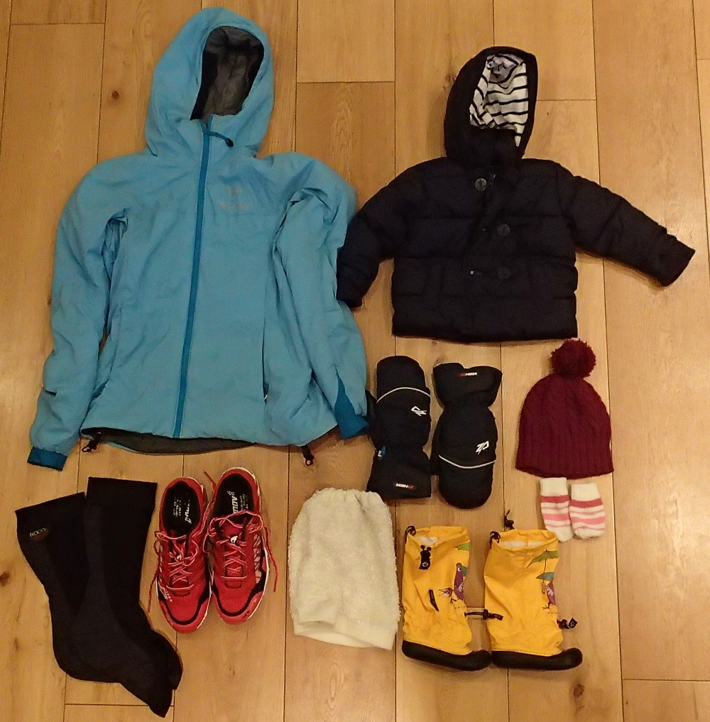 Family clothing to stay warm outdoors in winter