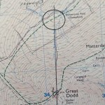 Location found: meeting point of azimuth line and trail