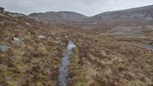 Rough mountain trail climbing from Inchnadamph to Bealach na h-Uidhe