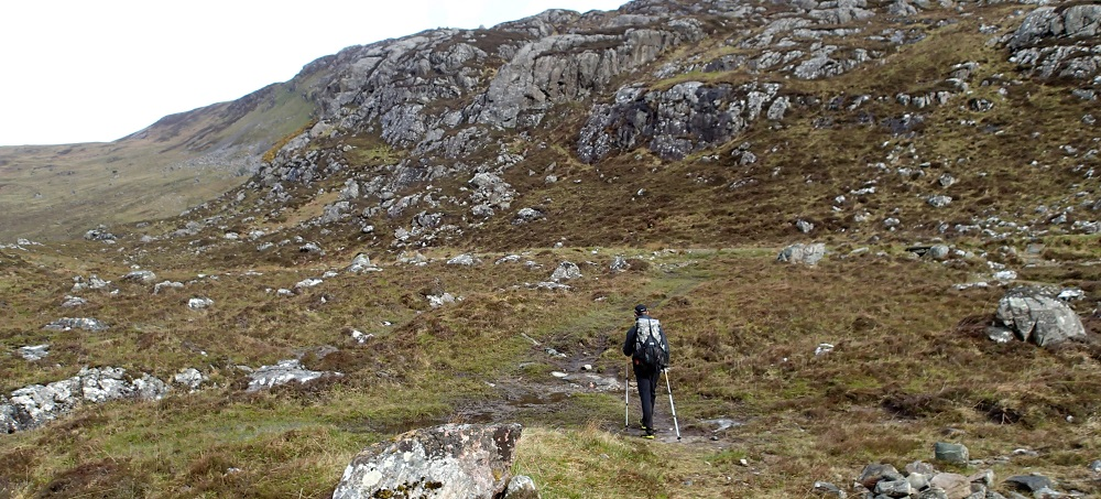 Almost reaching Glendhu bothy from a late morning break