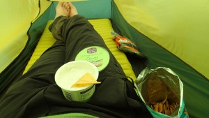A pile of junk food while resting in the tent at a rainy Durness afternoon