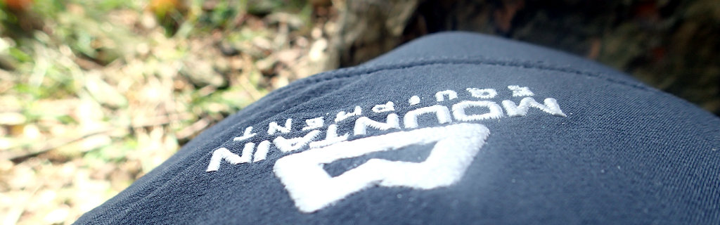 Mountain Equipment logo on the Ibex pants