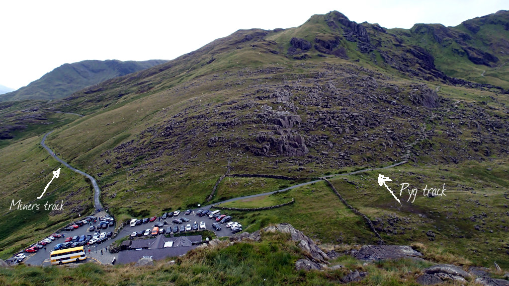 Pen-Y-Pass in all its glory and the 2 trails leading to Snowdon