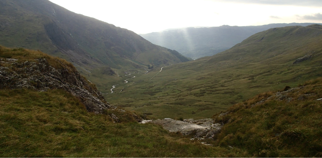 Looking east from our camping spot over to Afon Cwm Llan