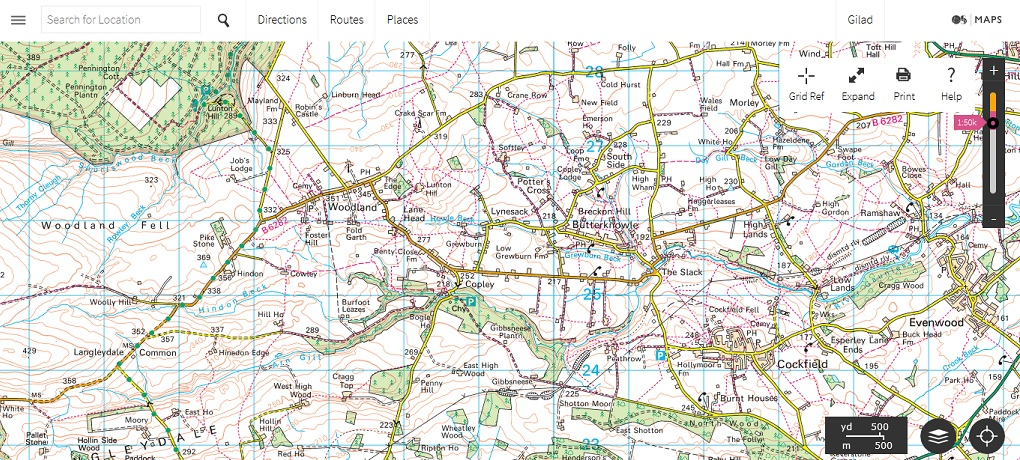 OS Maps site interface