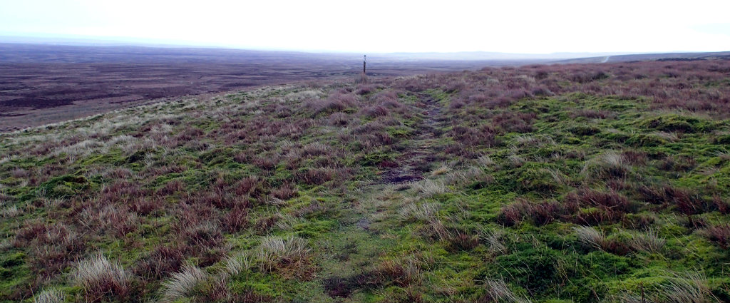 The deceiving entrance to Bowes Moor, looks almost inviting with the pole markings