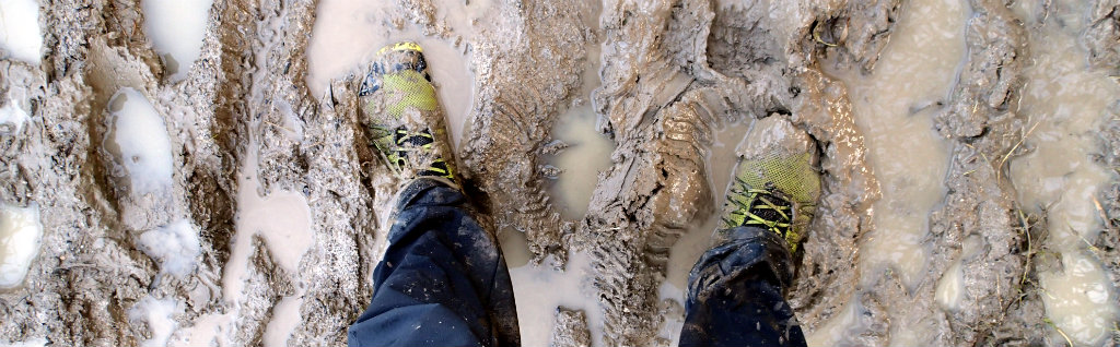 Muddy path are better in light and agile shoes than heavy clunky boots