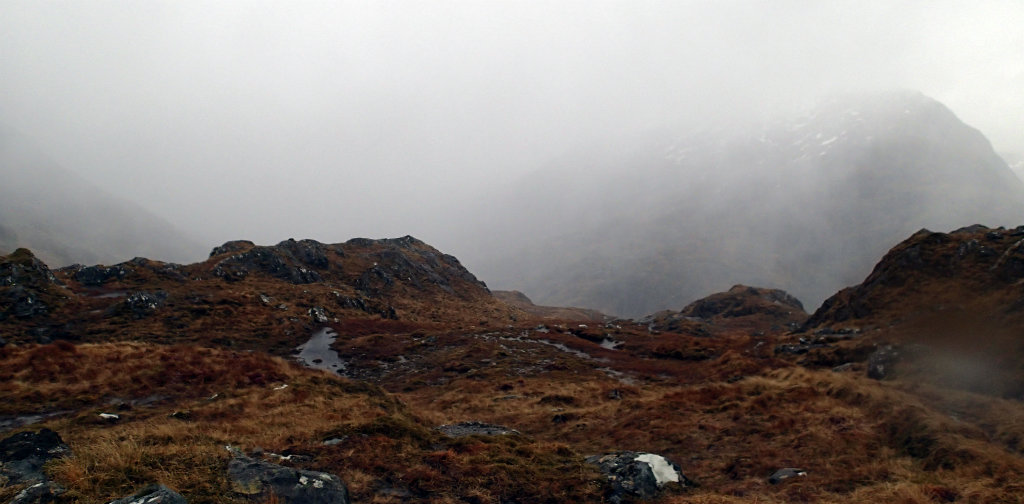 Walking into a storm: a white out on the bealach above Barisdale