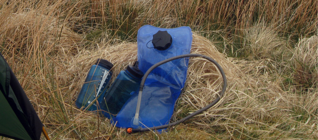 Hydratio bladder and Nalgenes in Dartmoor