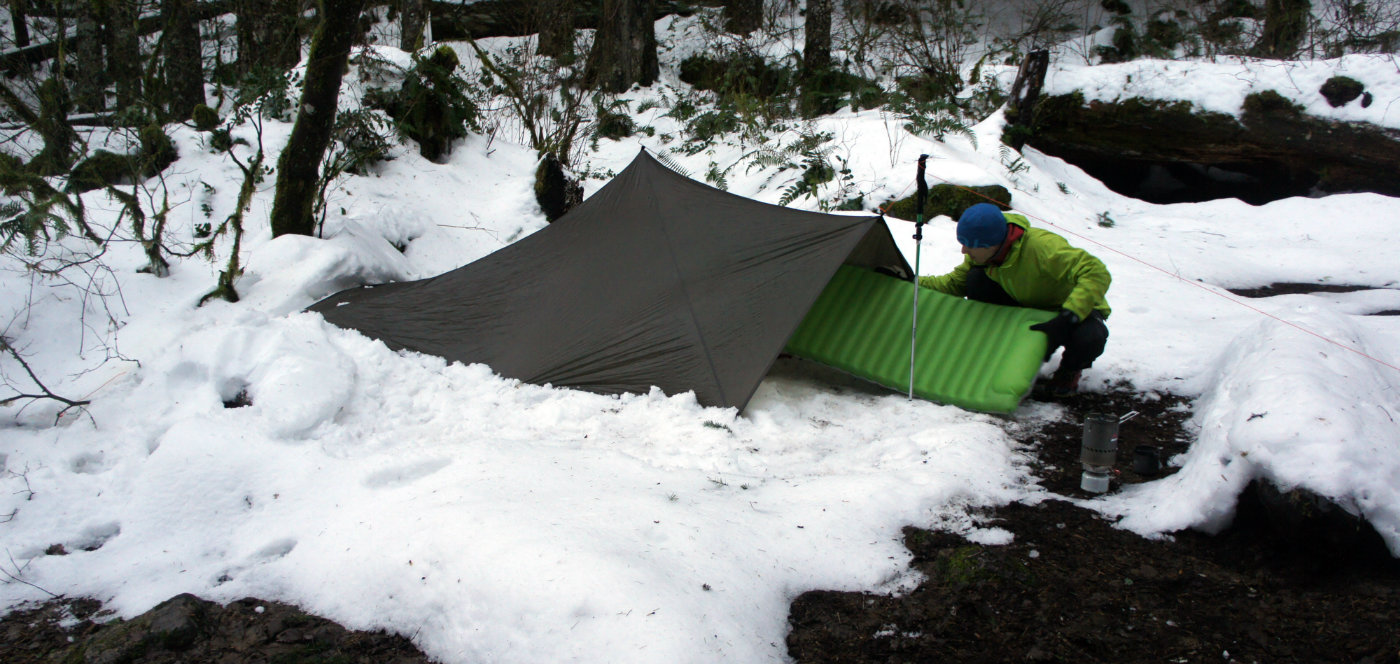 Camping in the snow at 7.5 miles camp site