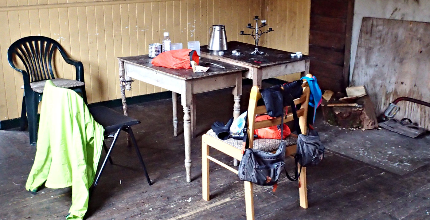 Drying a few pairs of gloves while taking shelter in a Scottish bothy