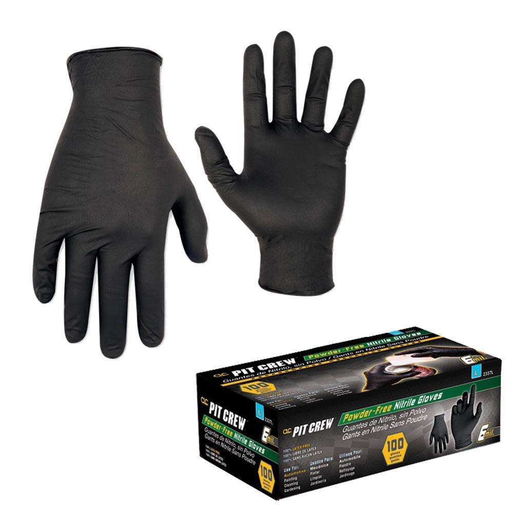CLC Black Nitrile Disposable Glove Box Of 100 Large - 6mm ...