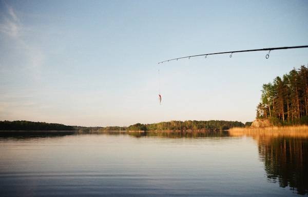 Rod dangling a lure