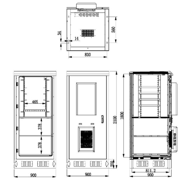 IP55 Galvanized Steel Green Outdoor Power Cabinet