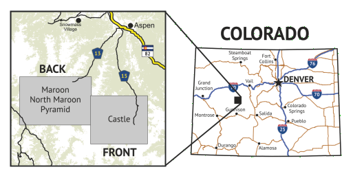 14ers Series Map 10 of 16 - Castle, Conundrum, Maroon, North Maroon, Pyramid location overview