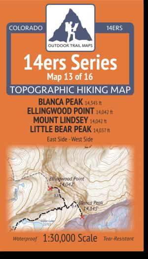 14ers Map Series 13 of 16 - Blanca, Ellingwood, Lindsey, Little Bear Cover