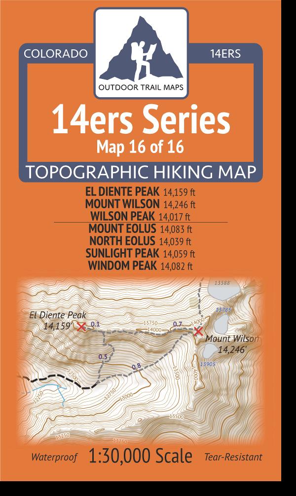 Cover of 14ers Map Series 16 of 16 - El Diente, Wilson, Wilson, Eolus, North Eolus, Sunlight, Windom