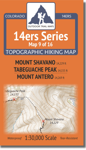 14ers Map Series 9 of 16 - Shavano, Tabeguache, Antero Cover
