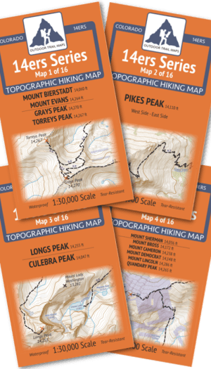Covers of maps in the Front-Tenmile-Mosquito 14ers Map Pack Pack