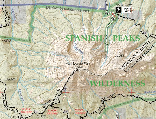 Greenhorn Mountain Wilderness / Spanish Peaks Wilderness Crop 1