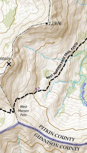 Crop of 14ers Series Map 10 of 16 - Castle, Conundrum, Maroon, North Maroon, Pyramid