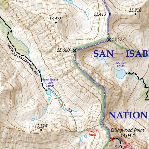 Crop of 14ers Map Series 13 of 16 - Blanca, Ellingwood, Lindsey, Little Bear