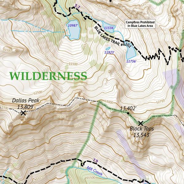 Crop of 14ers Map Series 15 of 16 - Sneffels, Handies, Redcloud, Sunshine